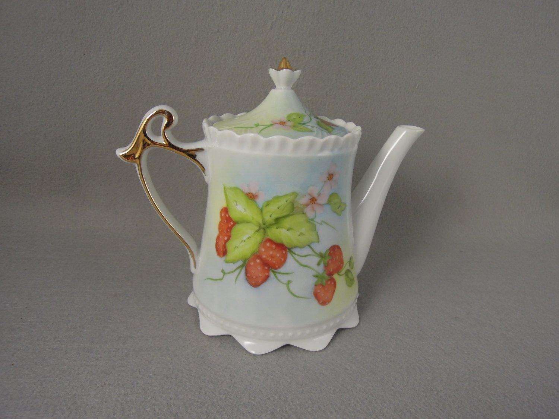 Coffee Pot Strawberry Motif Gold Trim Signed Minke