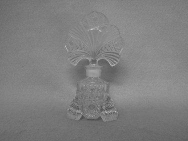 Vintage Glass Perfume Bottle small hobstar fan shaped Stopper