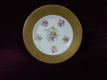 Gold Encrusted Floral Cabinet Plate  Signed Czechoslovakia 1