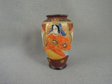 Japanese Satsuma Goddess Moriage Vase  Vintage