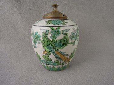 Porcelain Bird Container engraved brass top Vintage