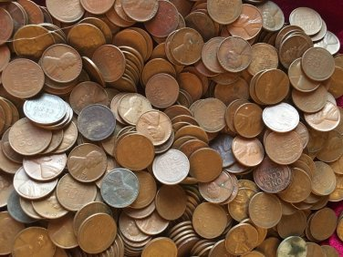 two pounds of un-searched wheat pennies