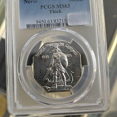 1925 norse medal commemorates pcgs ms63 thick