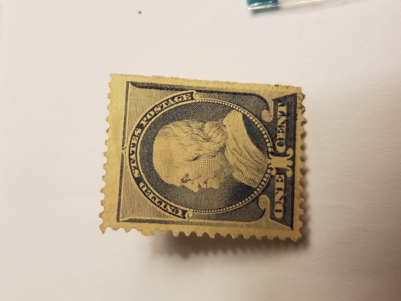 1887 Ben Franklin unused one cent stamo
