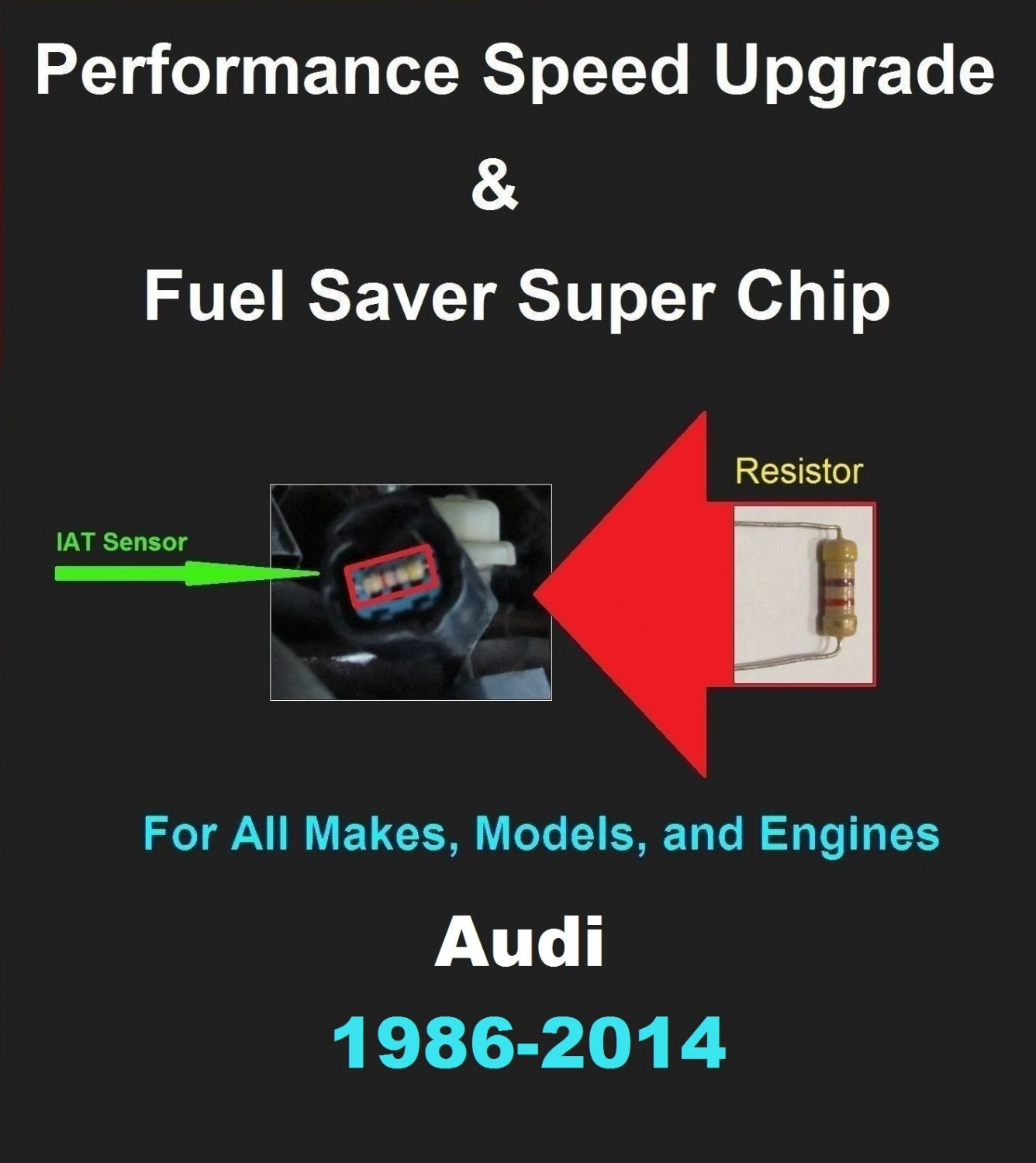 Audi Performance IAT Sensor Resistor Chip Mod Kit Increase MPG HP Speed Power Super Fuel Gas Saver