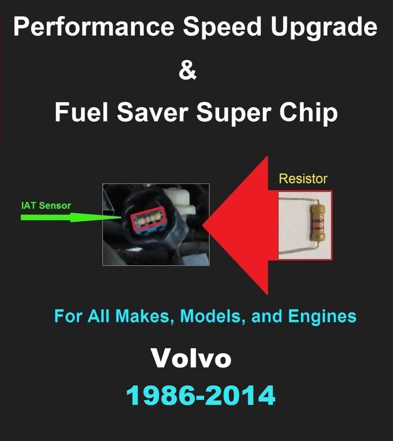 Volvo Performance IAT Sensor Resistor Chip Mod Kit Increase MPG HP Speed Power Super Fuel Gas Saver