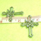 4 pcs Quality Phodium Silver Tone Cross Pendant DIY128
