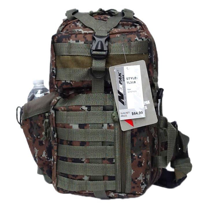 """18"""" 1200cu.in. NexPak Tactical Sling Shoulder Hiking Backpack TL318 DMBRN CAMO"""
