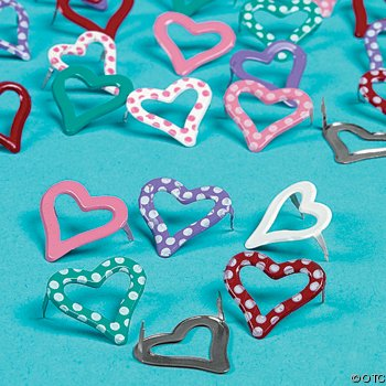 Polka Dot Heart Ooutlined Scrapbooking Brads