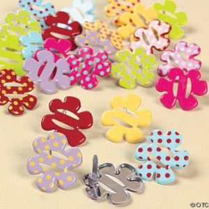 Bright Spring Colored Flowered Ribbon Brads