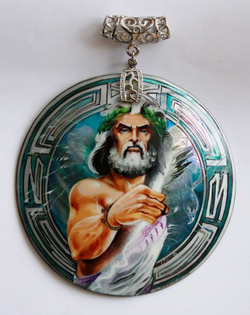 Talisman Zeus - the mother of pearl, hand-painted