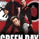 Green Day Autographed Signed Red Poster