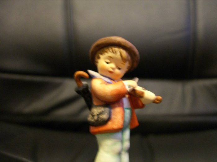 Hummel Doll - Young Boy Playing Violin with Umbrella on His Back