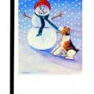 """Wire Fox Terrier (Frosty's Helper) - 11""""""""x15"""""""" 2-Sided Garden Banner"""