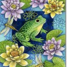 Frog and Water Lilies Toland Art Banner