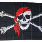 Jolly Roger - 3'x5' Polyester Flag (Red Scarf)