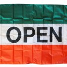 Open - 3'X5' Nylon Flag (green/white/orange)