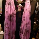 Lavender Scarf with Jewelry Goldtone