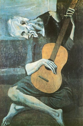 The Old Guitar Player by Pablo Picasso Art Poster 24x36 1903 Bewitched TV Show