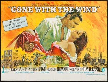 Gone With The Wind Poster 27x37 Horizontal Rhett and Scarlett Vivien Leigh Clark Gable