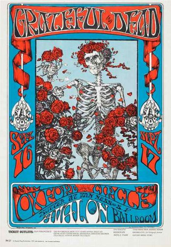 Grateful Dead Poster 24x36 Skeleton and Roses Avalon Ballroom Omar Khayyam Rubaiyat