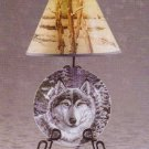 Snow Wolf Plate and Lamp Set