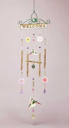 "Welcome"" Hummingbird Wind Chime"