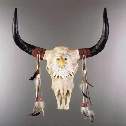 Eagle Head and Bull Skull Wall Sculpture