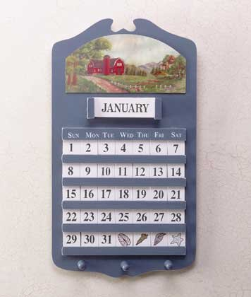 Barn Scene Wall Calendar & Key Holders