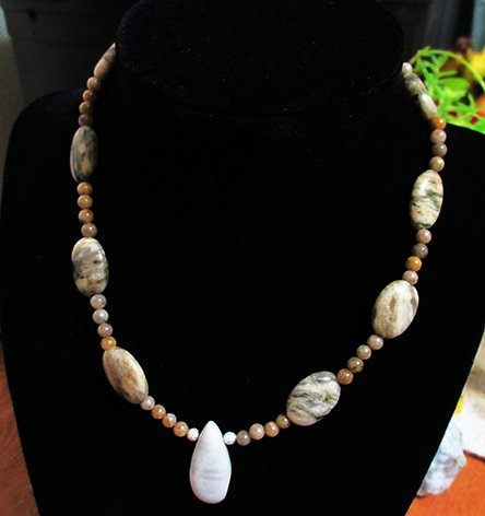 Green Earth Jasper, Gray Feldspar Beaded Necklace