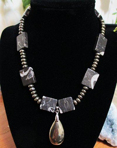 Zebra Jasper & Pyrite Beaded Necklace