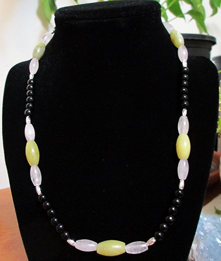 Olive Jade, Rose Quartz, Black Obsidian Beaded Necklace