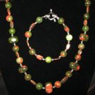 Unakite Necklace & Bracelet Set