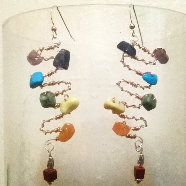 Chakra Kundalini Serpent Crystal Earrings