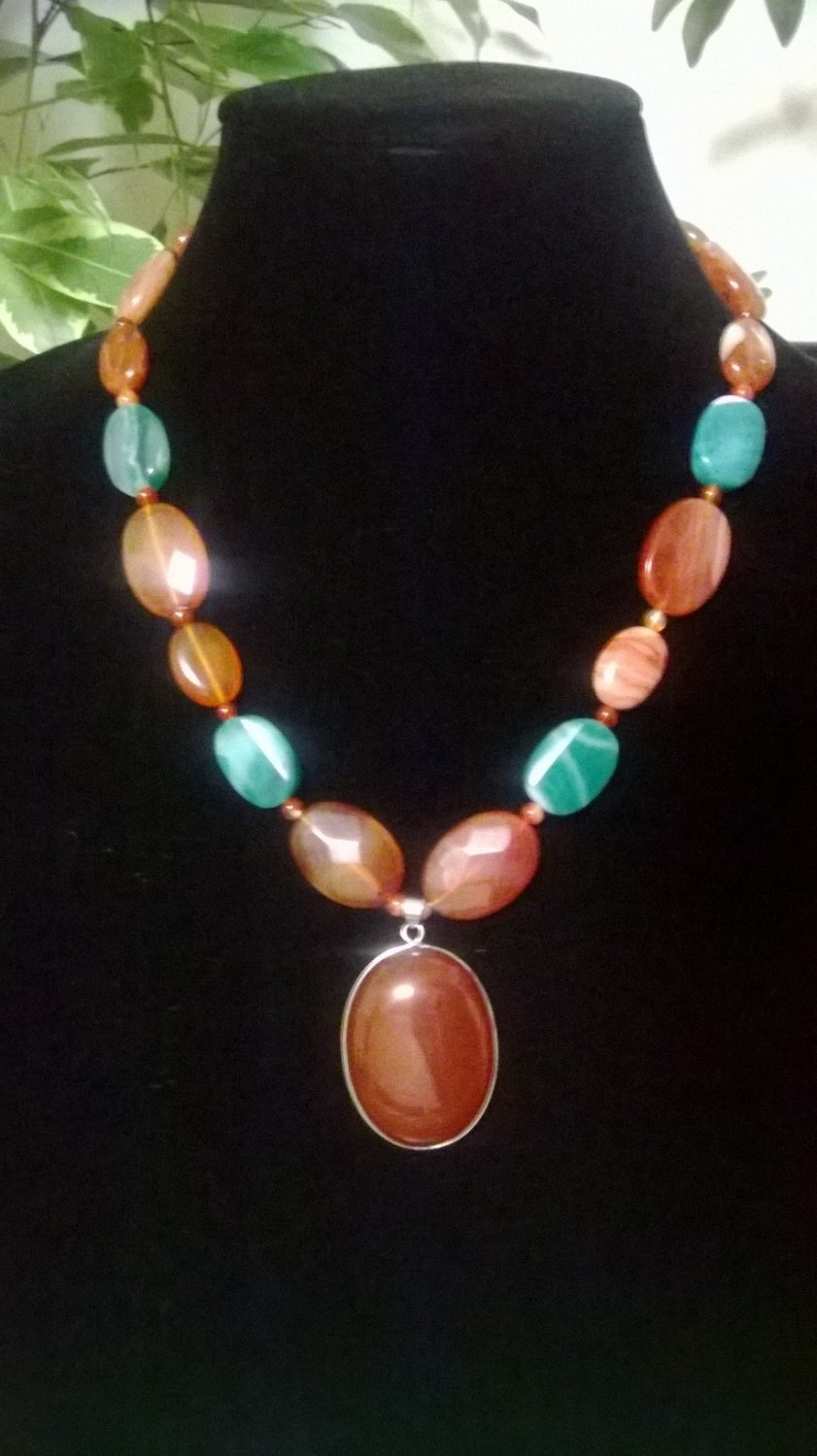 Carnelian, Agate & Green Banded Agate  Necklace & Pendant