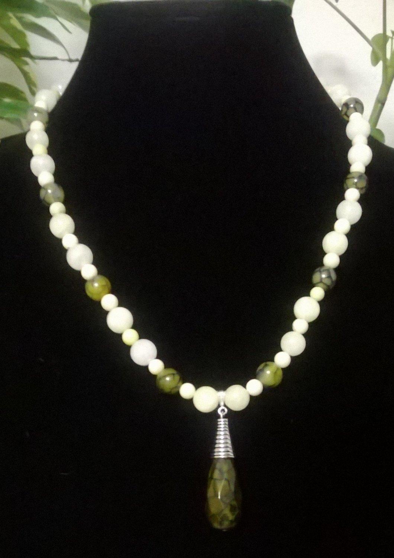 Olive Green Crackle Agate , Quartzite & Jasper Necklace & Pendant