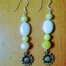 Yellow Fire Agate, Jasper & Howlite Sunflower Earrings