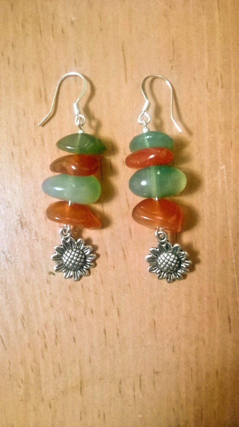 Carnelian & Moss Agate Sunflower Earrings
