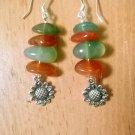Carnelian & Moss Agate Sunflower Earrings