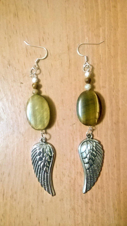Tigeres Eye Crystal Wings earrings