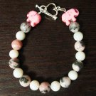 Pink Leopard Jasper and River Pearls elephant Bracelet