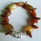 Brown Agate and (Plastic) leaf Bracelet