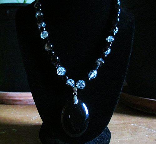 Black stone , Black Jasper and (plastic) beads necklace