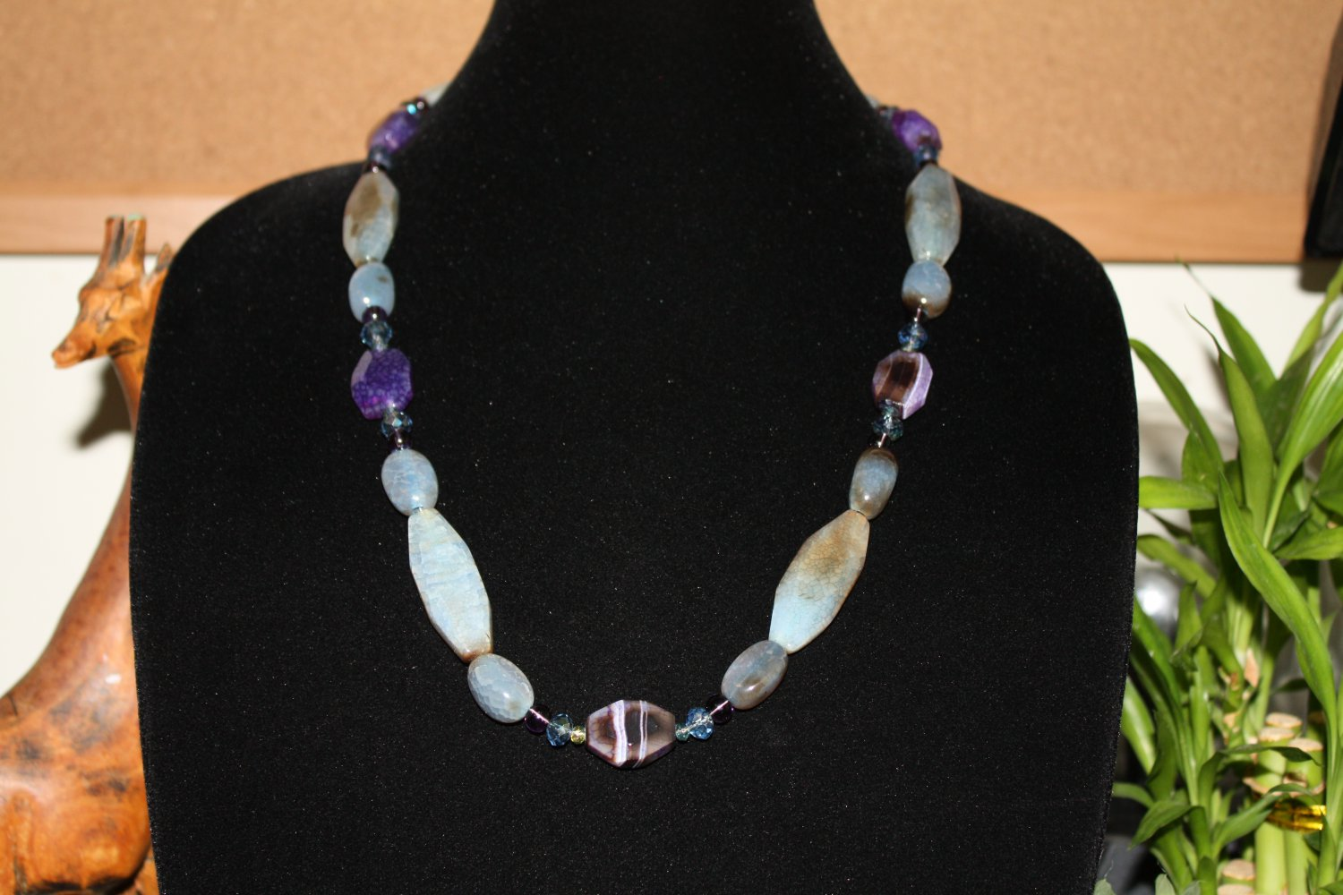 Purple Agate and Blue Agate Necklace