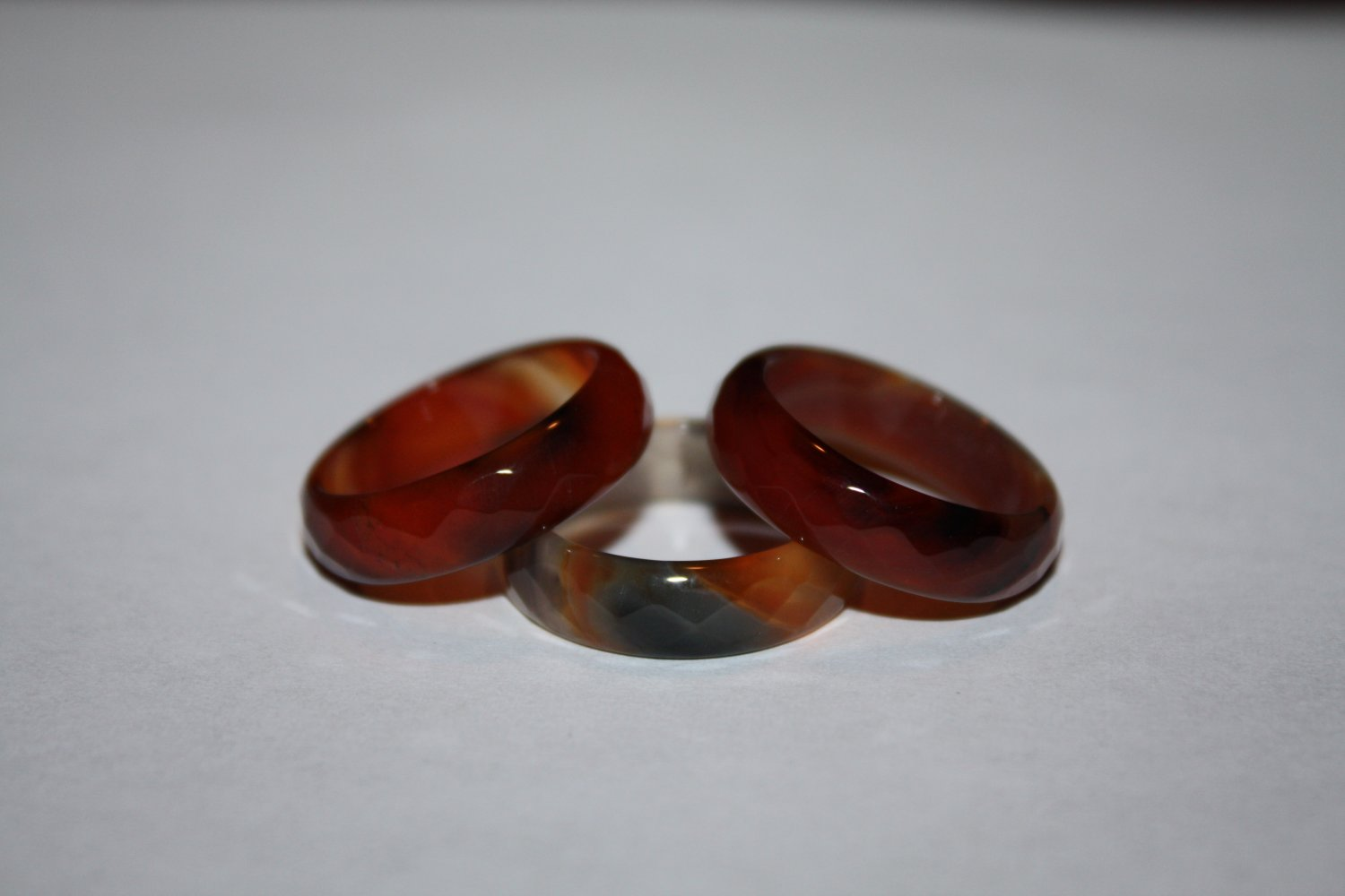 cut Agate rings