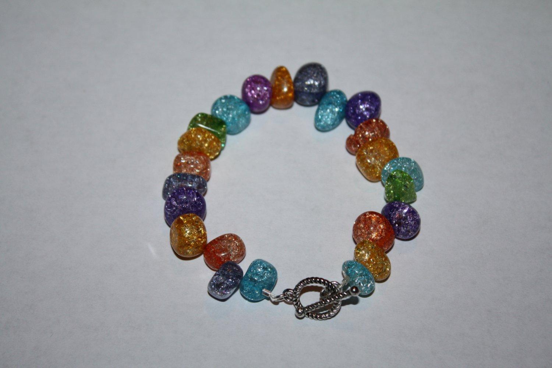 colorful Crackle Quartz (dyed) Bracelet
