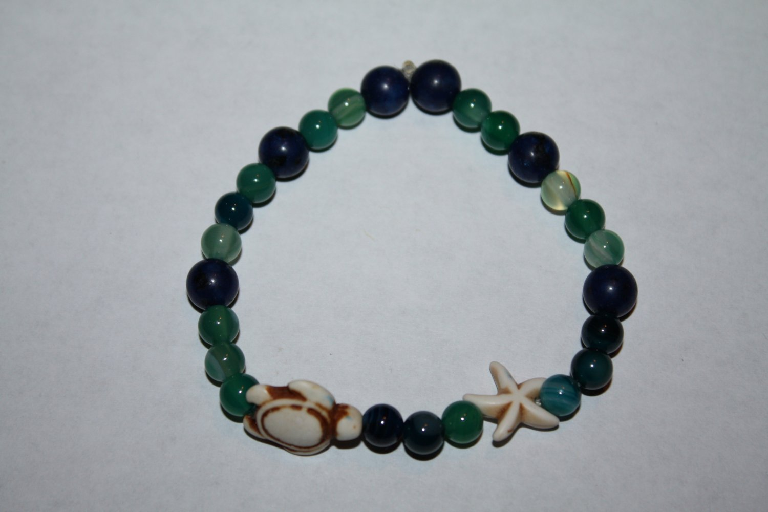 Stretch Banded Agate  and Blue Jasper turtle Bracelet