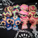 Day of the Dead Ornaments 6 pack Red/Orange/Yellow