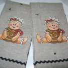 Gingerbread Babies Reversible Linen Tea Towels