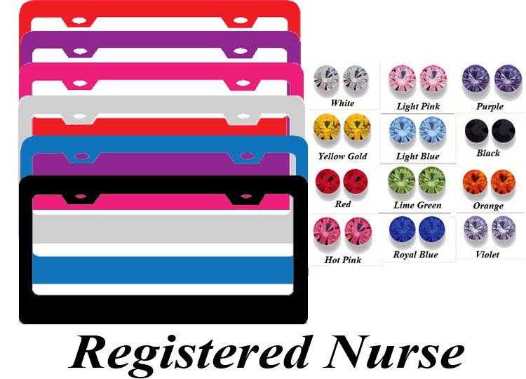 registered nurse swarovski rhinestone crystal bling bling license plate frame